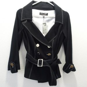 Cache Contour Belted Black Jacket Lined Small NWT